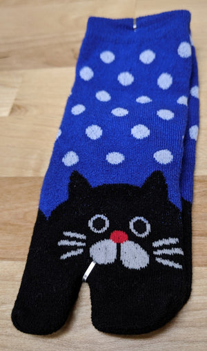 Children's Tabi Socks Black Cat on Blue with White Polka Dots