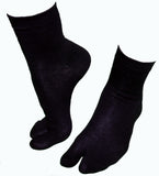 Black Cotton Nylon Stretchy Tabi Socks