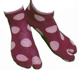 Tabi Socks - Red with Pink Polka Dots