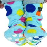 Cozy-warm-fleece-socks-for-children-turquoise-with-dots