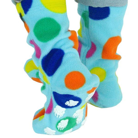 Cozy-warmfleece-socks-for-children-turquoise-with-dots