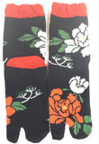 Orange-White Flowers Tabi Socks