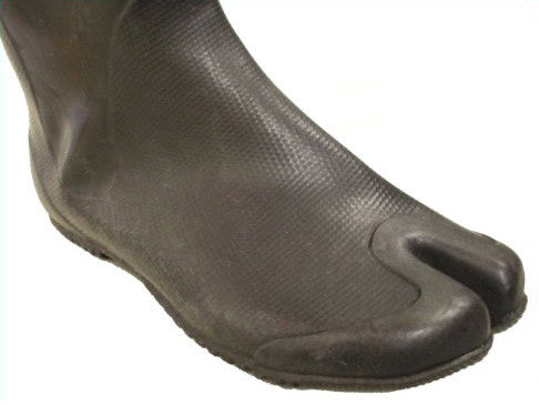 closeup of rubber tabi boot foot