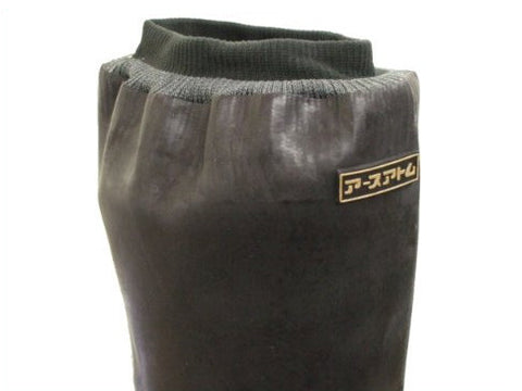 closeup of rubber tabi boot top showing ribbed fabric top