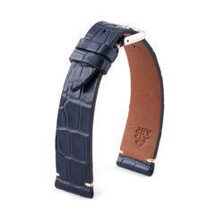 ABP Matt Blue Alligator Leather Watch Strap with Ecru stitching