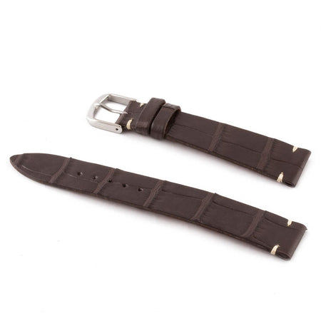 ABP Matt Dark Brown Alligator Leather Watch Strap with Ecru stitching