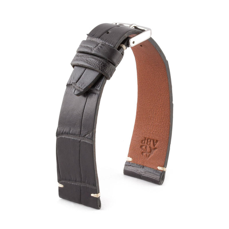 ABP Matt Grey Alligator Leather Watch Strap with Ecru stitching