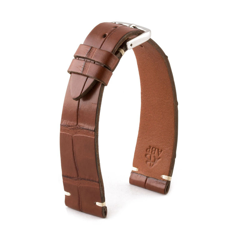 ABP Matt Medium Brown Alligator Leather Watch Strap with Ecru stitching