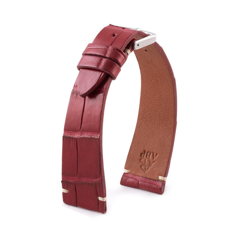 ABP Matt Wine Red Alligator Leather Watch Strap with Ecru stitching
