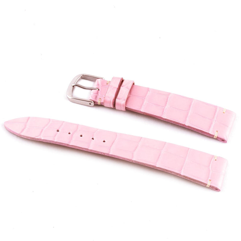 ABP Matt Pink Alligator Leather Watch Strap with Ecru stitching