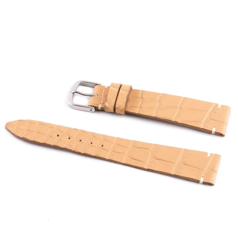 ABP Matt Tan Alligator Leather Watch Strap with Ecru stitching