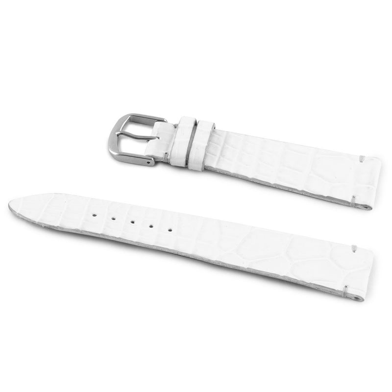 ABP Matt White Alligator Leather Watch Strap with Ecru stitching