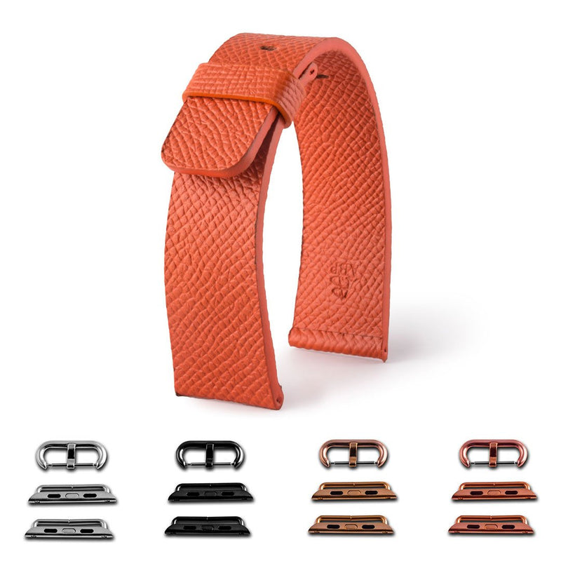 ABP Paris Orange Grained Calf Leather Apple Watch Strap