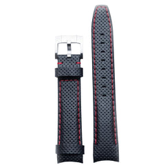 Everest Curved End Racing Leather Watch Strap Black with Red stitching for Rolex Sports Models