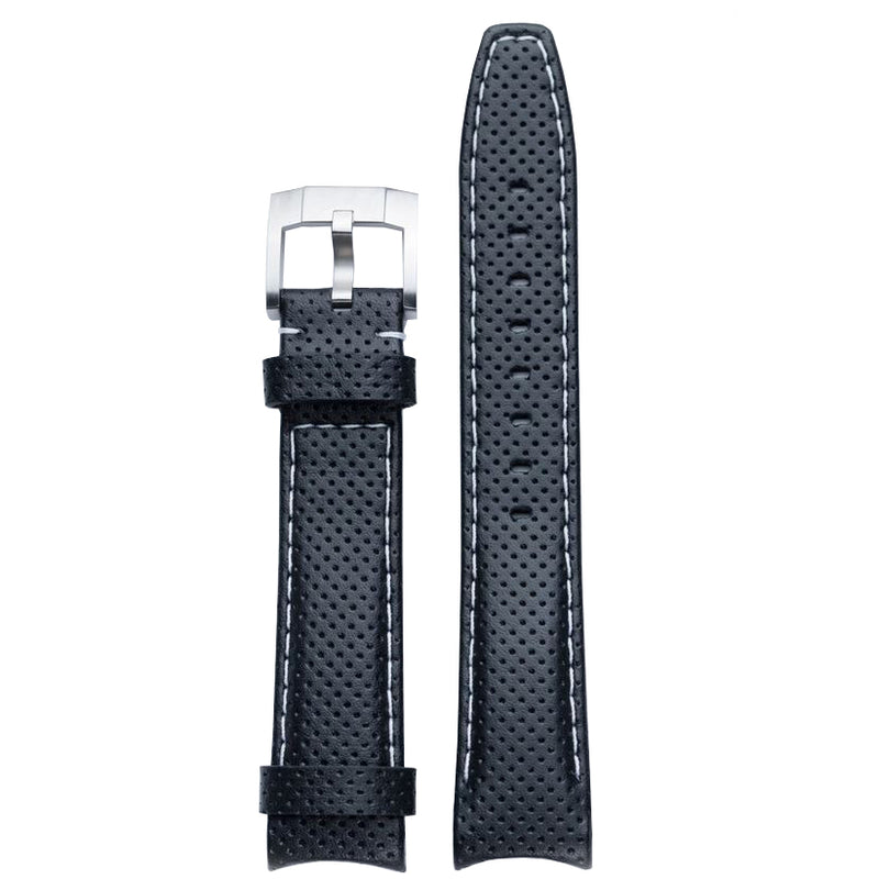 Everest Curved End Racing Leather Watch Strap Black with White stitching for Rolex Sports Models