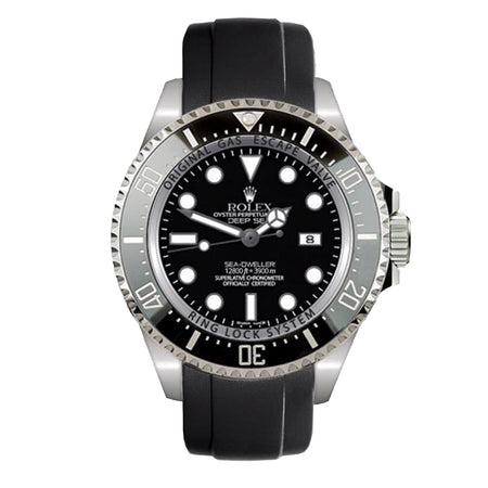 Everest Curved Rubber Strap Black EH10 for Rolex Deepsea Sea-Dweller 116660