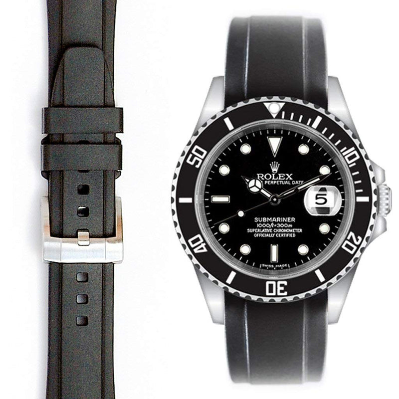 Everest Curved Rubber Strap Black EH5 with Tang Buckle for Rolex Sports Models
