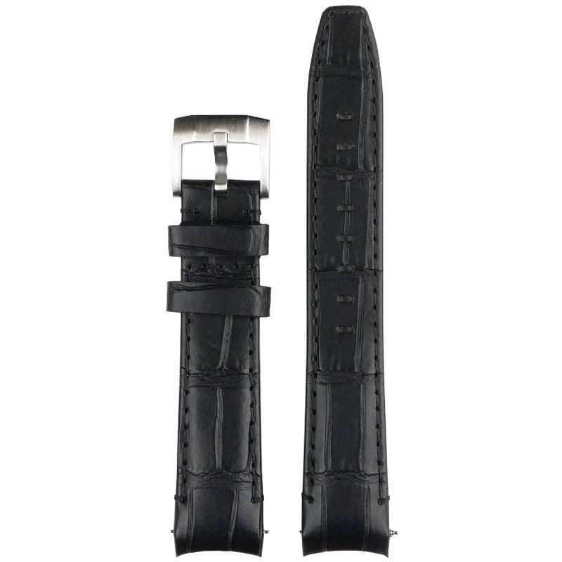 Everest Curved End Leather Watch Strap in Black Alligator with Tang Buckle for Rolex Sports Models