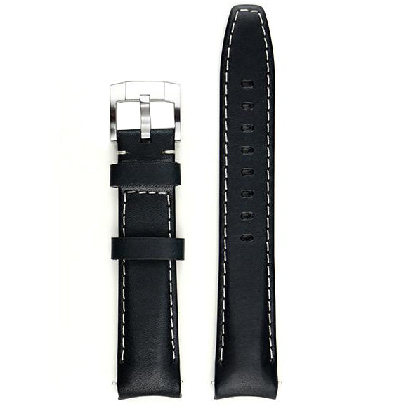 Everest Curved End Leather Watch Strap in Black with White Stitching with Tang Buckle for Rolex Sports Models