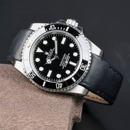 Everest Curved End Leather Watch Strap in Black with Tang Buckle for Rolex Sports Models