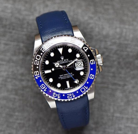 Everest Curved End Leather Watch Strap in Blue with Tang Buckle for Rolex Sports Models