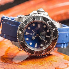 Everest Curved Rubber Strap Blue EH10 for Rolex Deepsea Sea-Dweller 116660