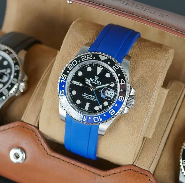 Everest Curved Rubber Strap Blue EH 5B with Tang Buckle for Rolex Sports Models