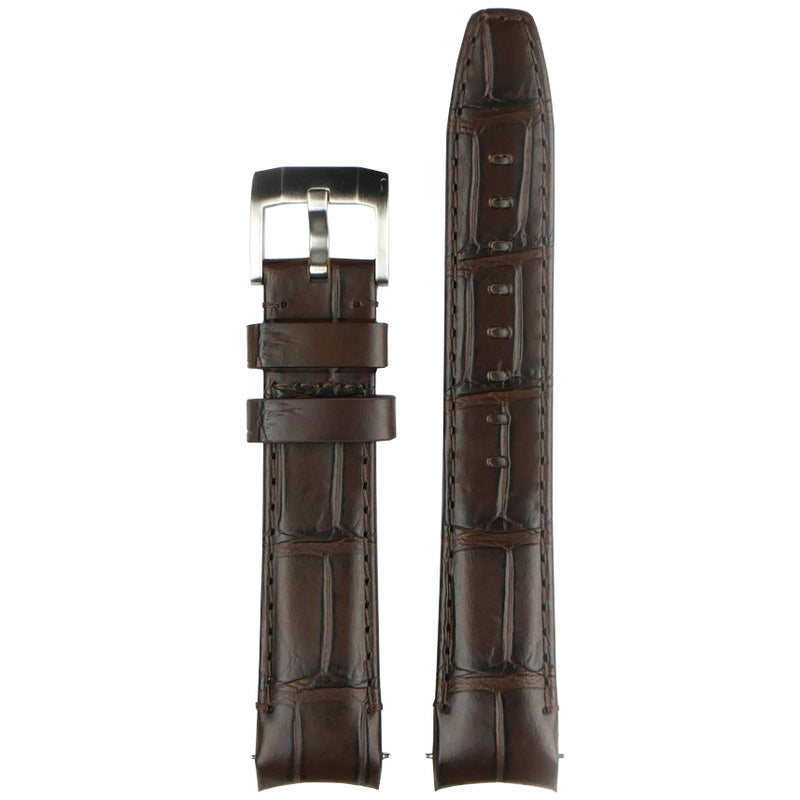 Everest Curved End Leather Watch Strap in Brown Alligator with Tang Buckle for Rolex Sports Models