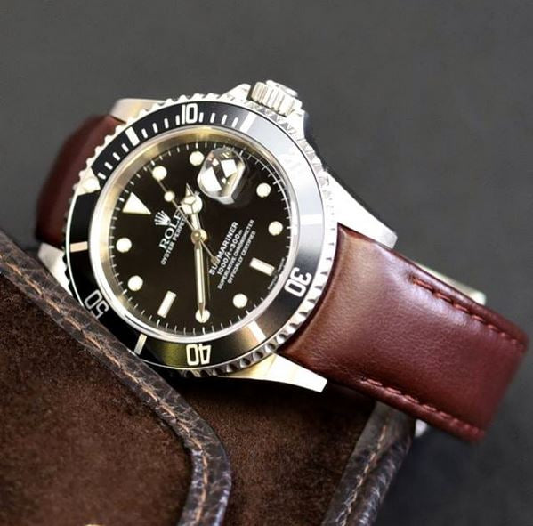Everest Curved End Leather Watch Strap in Brown with Tang Buckle for Rolex Sports Models