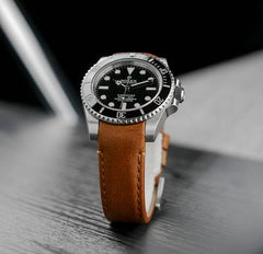 Everest Curved End Leather Watch Strap in Chestnut with Tang Buckle for Rolex Sports Models