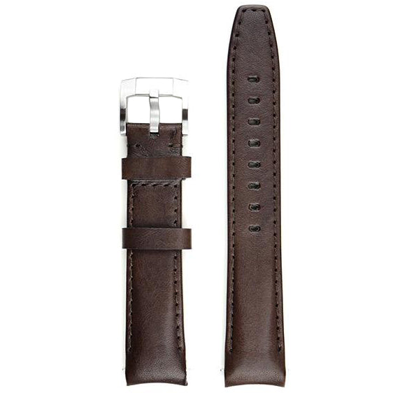 Everest Curved End Leather Watch Strap in Chocolate Brown with Tang Buckle for Rolex Sports Models
