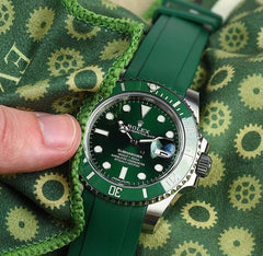 Everest Curved Rubber Strap Green EH5 with Tang Buckle for Rolex Sports Models