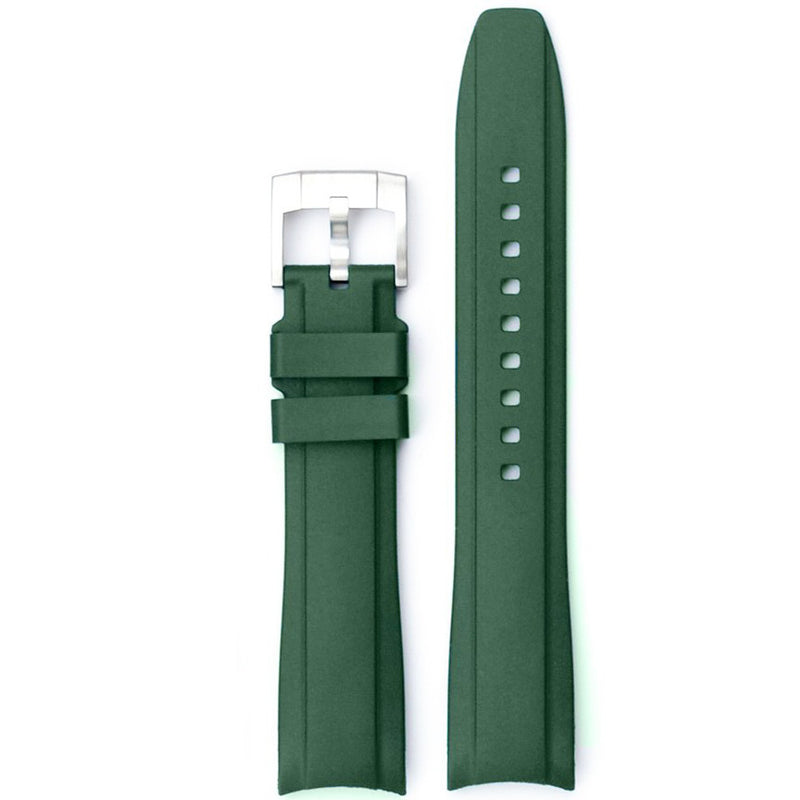 Everest Curved Rubber Strap Green EH for Rolex Submariner No Date 14060