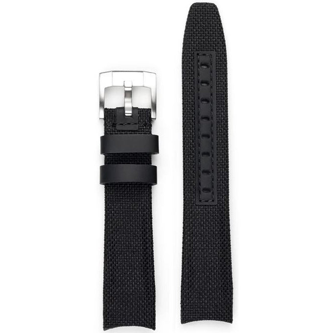 Everest Curved End Nylon Strap in Black with Tang Buckle for Rolex Sports Models