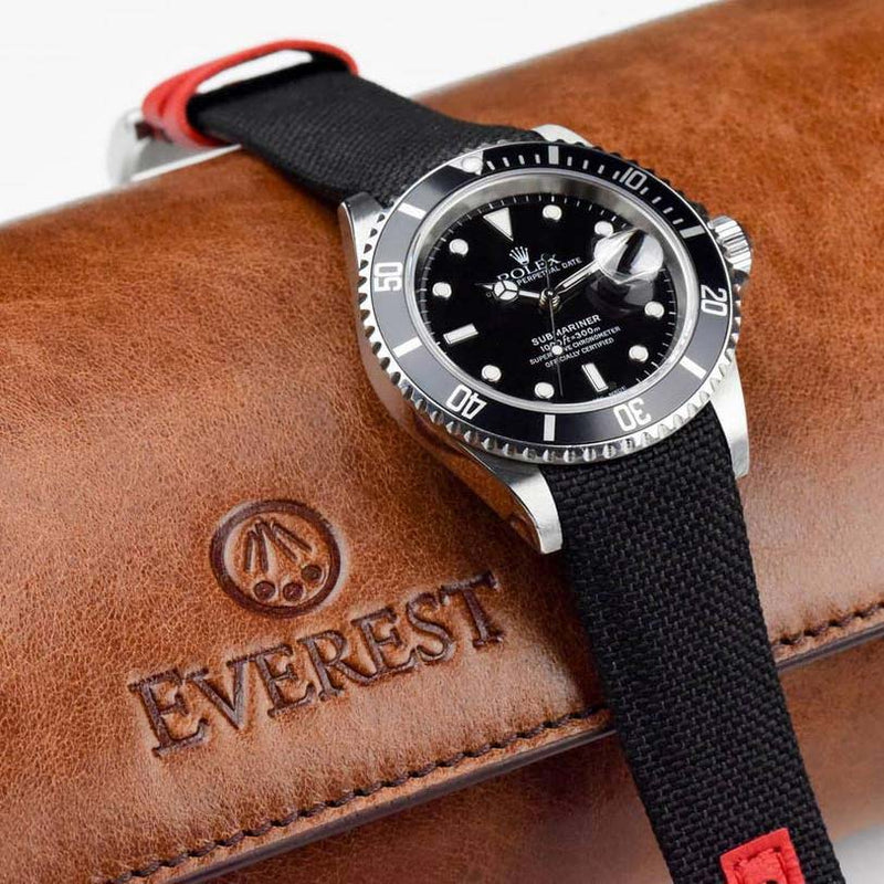 Everest Curved End Nylon Strap in Black and Red with Tang Buckle for Rolex Sports Models