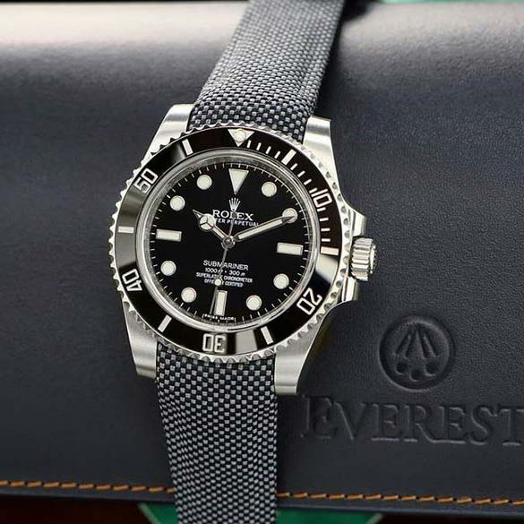 Everest Curved End Nylon Strap in Grey Gray with Tang Buckle for Rolex Sports Models