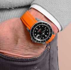Everest Curved Rubber Strap Orange EH5 with Tang Buckle for Rolex Sports Models