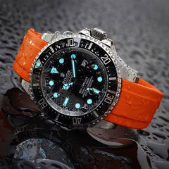 Everest Curved Rubber Strap Orange EH10 for Rolex Deepsea Sea-Dweller 116660