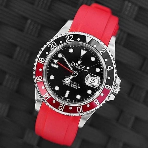 Everest Curved Rubber Strap Red EH5 with Tang Buckle for Rolex Sports Models