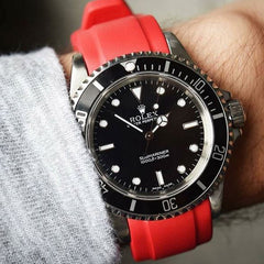 Everest Curved Rubber Strap Red EH for Rolex Submariner No Date 14060