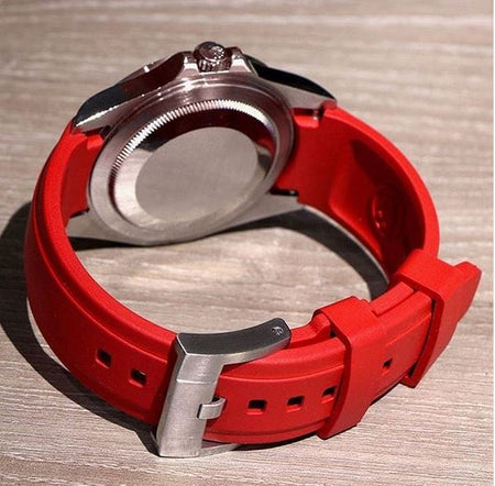Everest Curved Rubber Strap Red for Rolex Air-King & Rolex Milgauss