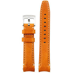 Everest Curved End Leather Watch Strap in Tan with Tang Buckle for Rolex Sports Models
