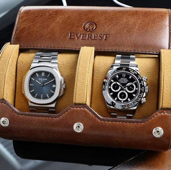 Everest Watch Roll for 2 Watches Espresso Brown
