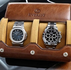 Everest Watch Roll for 2 Watches Vintage Brown