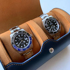 Everest Watch Roll for 2 Watches Navy Blue
