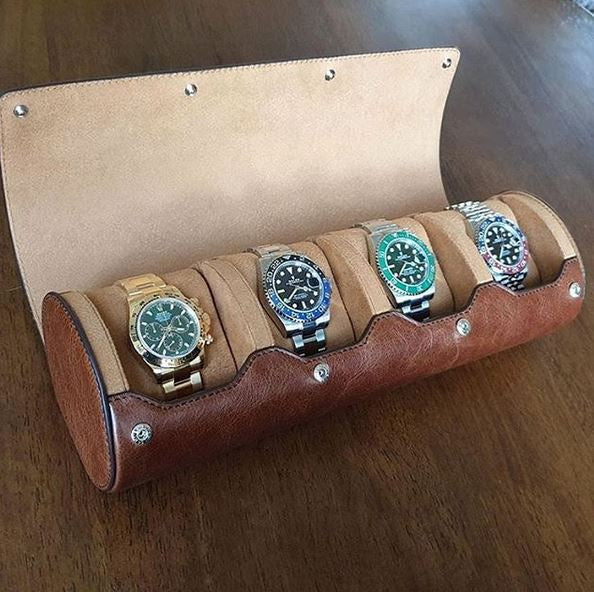 Everest Watch Roll for 4 Watches Vintage Brown
