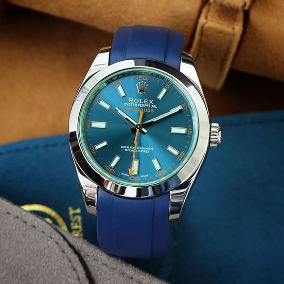 Everest Curved Rubber Strap Blue for Rolex Air-King & Rolex Milgauss