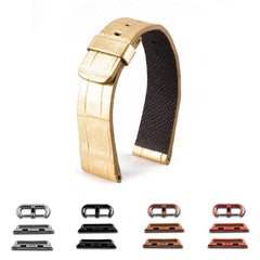 ABP Paris Gold Alligator Leather Apple Watch Strap