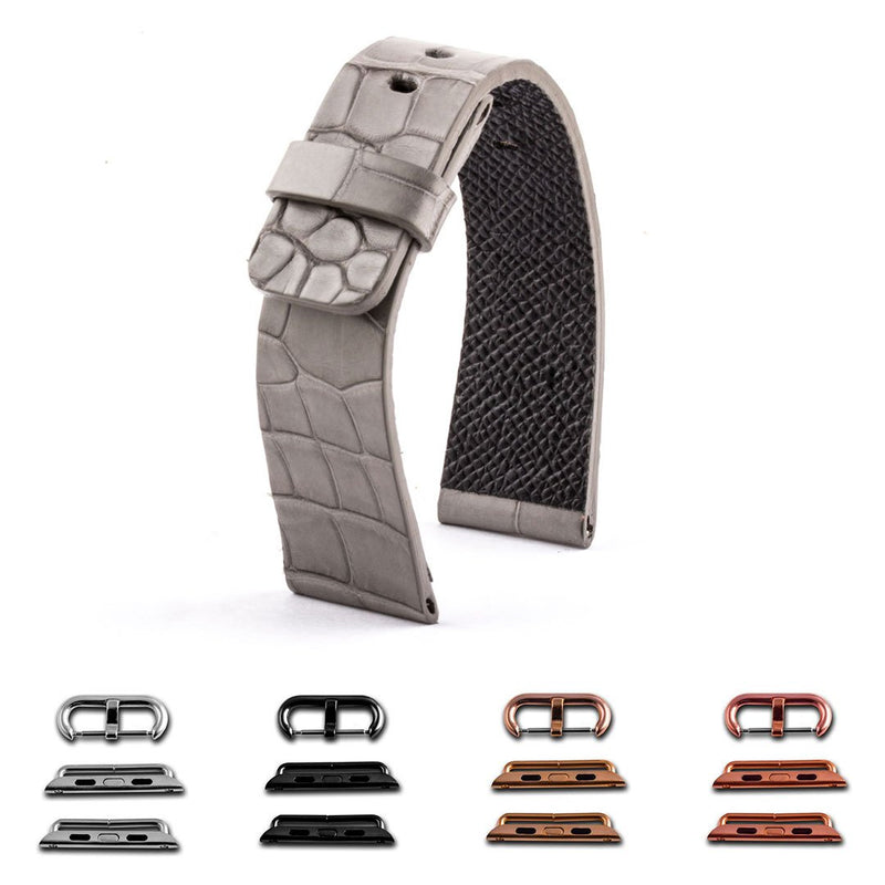 ABP Paris Light Grey Alligator Leather Apple Watch Strap