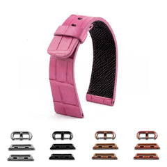 ABP Paris Pink Alligator Leather Apple Watch Strap
